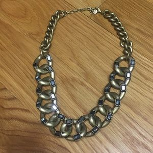 Chunky chain necklace, brushed gold w/ gray stones